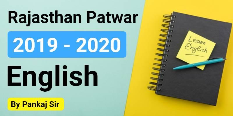 Rajasthan Patwar 2019 - 2020 | English By Pankaj Sir